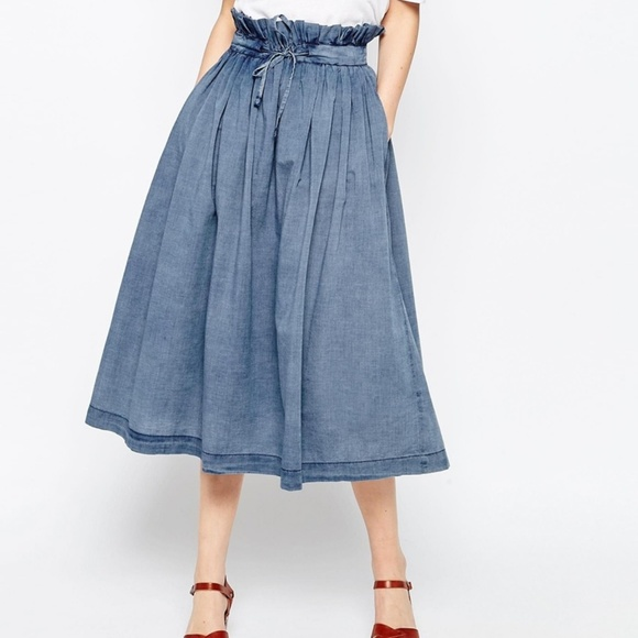 656fa7f01 ASOS Dresses & Skirts - ASOS Denim Paper Bag Waist Midi Skirt